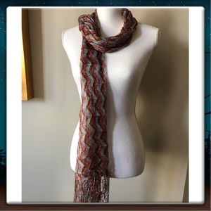Accessories - MULTI-COLORED ZIG ZAG ACCENT SCARF WITH FRINGES